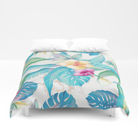 Blue tropical flowers Duvet Cover by printapix