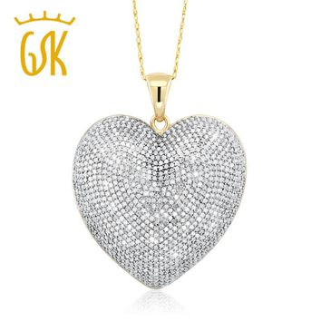 "GemStoneKing Women's 10K Gold Two-Tone 1.50 CT White Diamond 1"" Heart Shape Pendant Necklace"