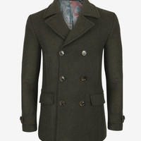 Herringbone peacoat - Dark Green | Jackets & Coats | Ted Baker