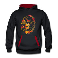 Native American Indian Men's Two-Tone Hooded Sweatshirt - Men's Two-Tone Hooded Sweatshirt