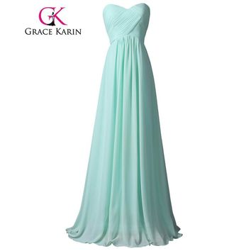 Grace Karin Pale Turquoise Prom Dress Long 2017 Elegant Sexy Sweetheart Pageant Party Evening Gowns Real Picture Prom Dresses