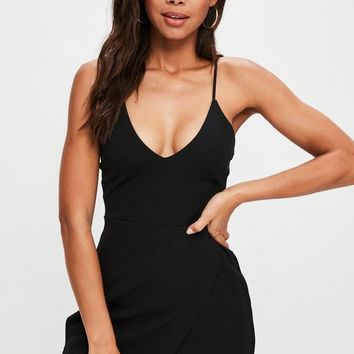 Missguided - Black Strappy Crepe Wrap Skort Romper