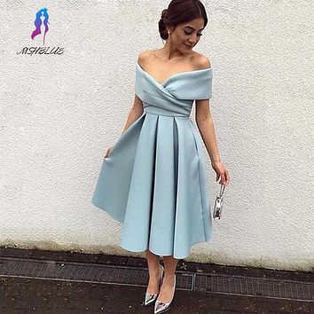 Simple Short Prom Dresses Satin Evening Gown Off the Shoulder Tea-Length Formal Women Party Dress