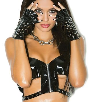 Vinyl gloves with studs and zipper. *Available Boxed