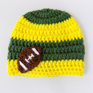 Green and Yellow Baby Hat, Baby Football Beanie, Striped Baby Hat
