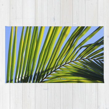 Decorative Floor Rug or Fabric Wall Hanging - Fine Art Photography of Palm Frond - Blue, Green - Tropical Decor