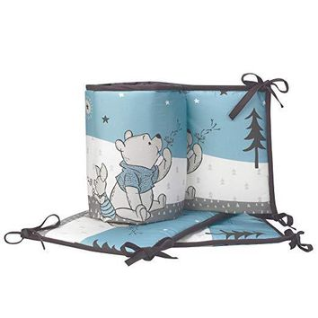 Lambs & Ivy Disney Baby Forever Pooh Blue/White Bear 4-Piece Baby Crib Bumper