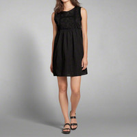 Embroidered High Neck Shift Dress