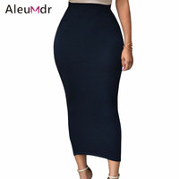 Aleumder 2016 Fashion Summer Pencil Skirt Office Lady Bodycon Slim Vintage Midi Skirts Womens High Waist LC71188 Saias Femininas