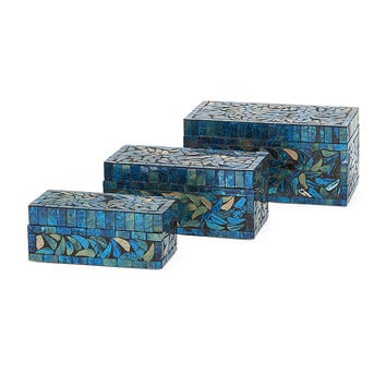 Peacock Mosaic Boxes - Set of 3