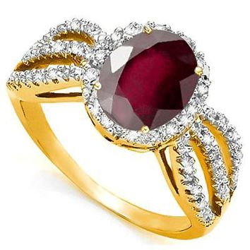 Gorgeous Persian Garnet and Diamond Ring in 10K Solid Gold
