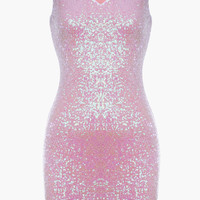 Pink Sleeveless Sequin Bodycon Mini Dress