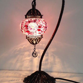 Pink Turkish Stylish Boho mosaic lamp with hand crafted copper base, Unique Ethnic lamp, Night table lamp, Traditional Turkish boho Lighting