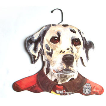 Vintage Wooden Dalmation Firehouse Dog Animal Hanger