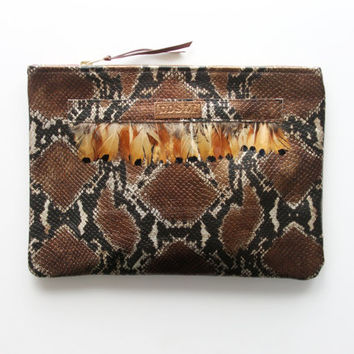 ADORA  4 / Natural snake leather & feather clutch bag - Ready to Ship