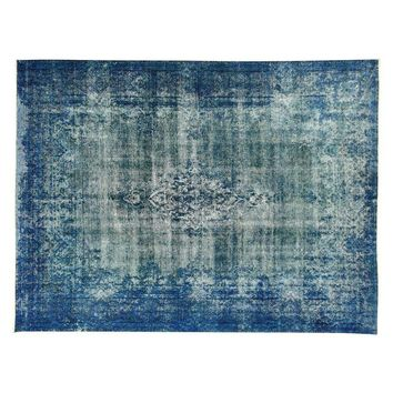 Pre-owned Iran Persian Kerman Blue Overdyed Rug 10' x 13'