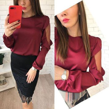 LMFLD1 AISORIG 2018 Spring Women New Fashion Tops Chiffon Sexy O-Neck Long Ruffles Lantern Sleeves Shirts Mesh Patchwork Blouses