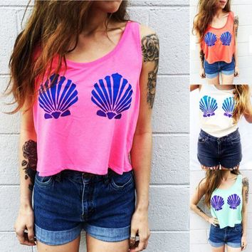 ONETOW Fashion Casual Shell Print Round Neck Sleeveless Vest T-shirt Crop Top