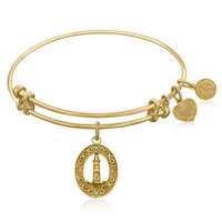 Expandable Bangle in Yellow Tone Brass with Lighthouse Beacon Of Hope Symbol