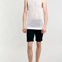 WHITE LONGER LENGTH KNITTED MESH VEST