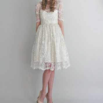 2 Piece, Hand-Beaded Lace and Silk Wedding Dress -- Mel