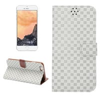 White Grid Leather Card Hold Wallet Cases Cover for iPhone 5S 6 6S Plus Samsung Galaxy S6 Hight Quality