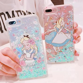 For iPhone X Alice Girl Power Princess Wonderland Glitter Liquid Cover Case For iPhone 6 6S 7 Plus