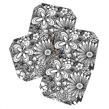 Madart Inc. All Over Flowers Black White Coaster Set