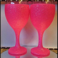 Pink glitter wine glass
