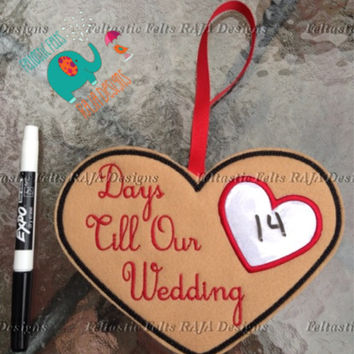 Wedding countdown dry erase board embroidery, days until embroidered wedding planning, count down, bridal shower gift, engagement gift, i do