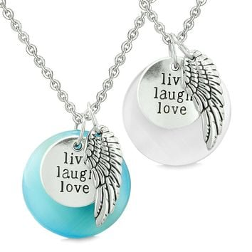 Guardian Angel Wing Live Laugh Love Amulets Couples Blue White Simulated Cats Eye Necklaces