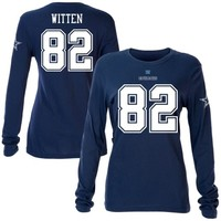 Jason Witten Dallas Cowboys Women's Navy Blue Name & Number Long Sleeve T-Shirt