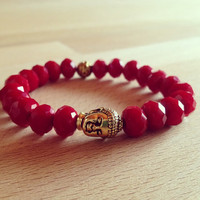 Red Beaded Buddha Bracelet