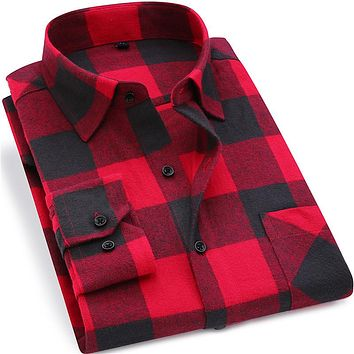 Men 100% Cotton Long Sleeve Flannel Plaid Shirt