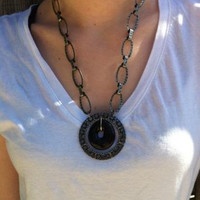 Recycled Brown Glass Hanging Pendant Necklace