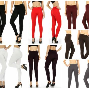 Plus Size Seamless Solid Leggings in One Size Fits Xl-2X  in 7 Colors