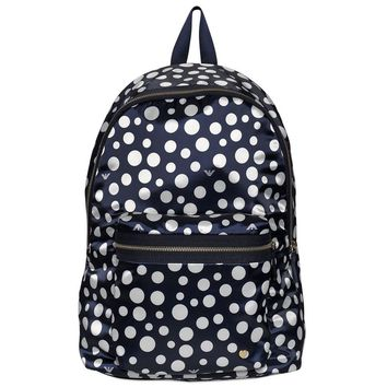 Armani Junior Navy and White Polka-Dot Backpack