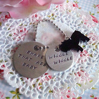 English or French Bulldog Hand Stamped Keychain Made to order Shake That Ass Wiggle Wiggle