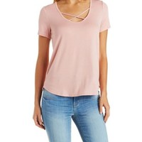 Caged Scoop Neck Tee by Charlotte Russe