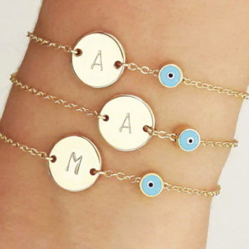 Customized Evil Eye Bracelet / Initial Disk and Evil Eye Bracelet / Personalized Jewelry / Name Talisman Bracelet /  B440