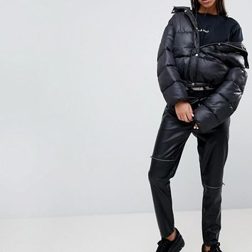Noisy May Leather Look Zip Trousers at asos.com