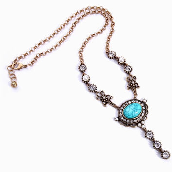 GORGEOUS #Turquoise & #AntiqueGold Extended #Pendant #Necklace with #CZ Accents