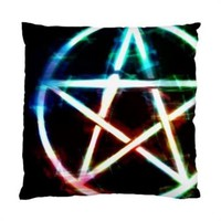 "Unearthly Light Wiccan Pagan Pentagram Pentacle Throw Pillow Cover Case 17"" 1-Si"