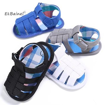 E&Bainel Newborn Baby Boy Shoes Summer Fashion White Black Color Crib Shoes First Walkers Soft Soled Anti-Slip ShoeS