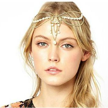 Rhinestone Pearl Beads Gold Head Chain Headband Headpiece Hair Band Hair Jewelry