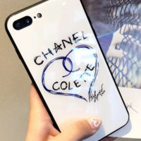 Chanel iPhoneX glass shell iPhone7 mobile phone shell 8P full package popular logo female