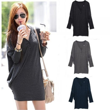 Casual Women T Shirt Batwing Sleeve V-neck Loose Long Sleeve Button Tops Blouse Long T-Shirt G0394 One Size = 1945649220