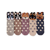 New women lovely spots dogs Socks cute cartoon  summer South Korean style Fashion Cotton Printing Tube Socks