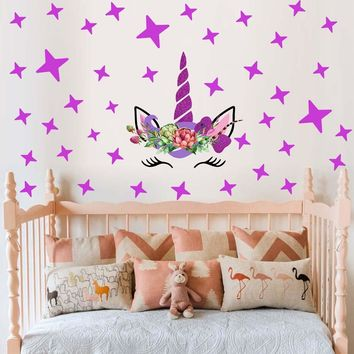 cartoon Unicorns flower Wall Stickers DIY  Stars Cute flower Animals Vinyl Home wall Decals kids room Girls Room Decor