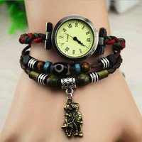 Vintage Style Leather Belt Watch with Kissing Couple Pendant B027